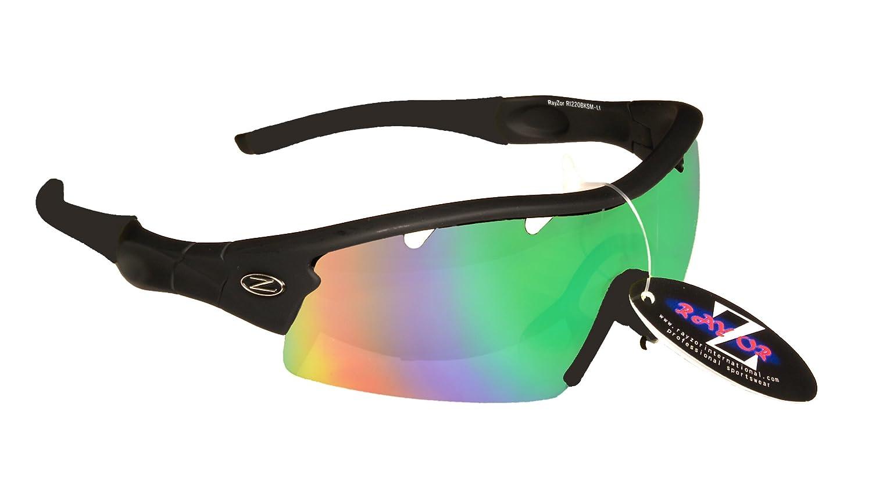 Rayzor professionnel léger UV400 Noir Sport Wrap Tir à l'arc Lunettes de soleil, avec un 1 Piece ventilé Bleu Vert Iridium miroir anti-éblouissement Lens. RI220BKBLGR-AR