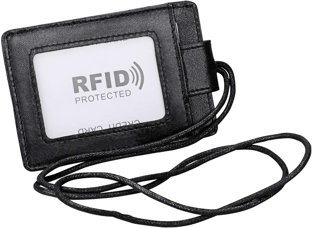 Badge Holder with Lanyard,Boshiho Genuine Leather RFID Blocking ID Badge Card Holder with Secure Snap Button Cover, 4 Card Slots for Offices ID, Driver Licence,School ID