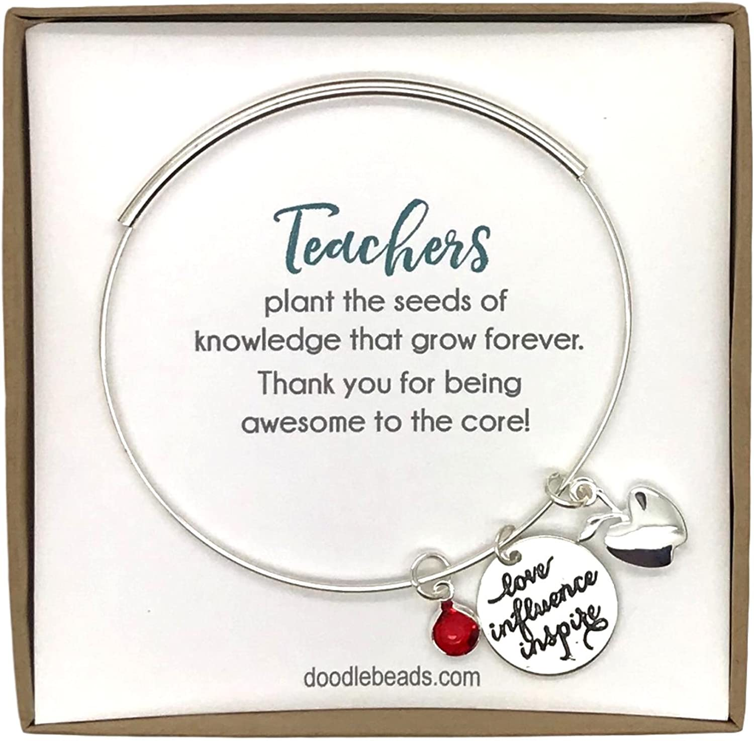 Doodle Beads Teacher Gift Necklace - Apple Bracelet, Teachers Plant Seeds of Knowledge Adjustable Bangle Bracelet