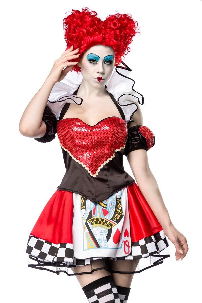 Sexy Queen Disfraz Alice País De Las Maravillas Corazón Vestido corazón Reina Reina Corazón Corazón Maravillas para Mujer Rojo Schwarz/Rot/Weiß XS-M 165b46