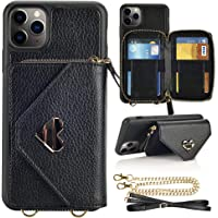 iPhone 11 Pro Max Wallet case, JLFCH iPhone 11 Pro Max Crossbody Case with Zipper Card Slot Holder Wrist Strap Shoulder…