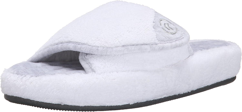 isotoner Women's Terry Spa Slip On Slide Slipper with Memory Foam for Indoor/Outdoor Comfort