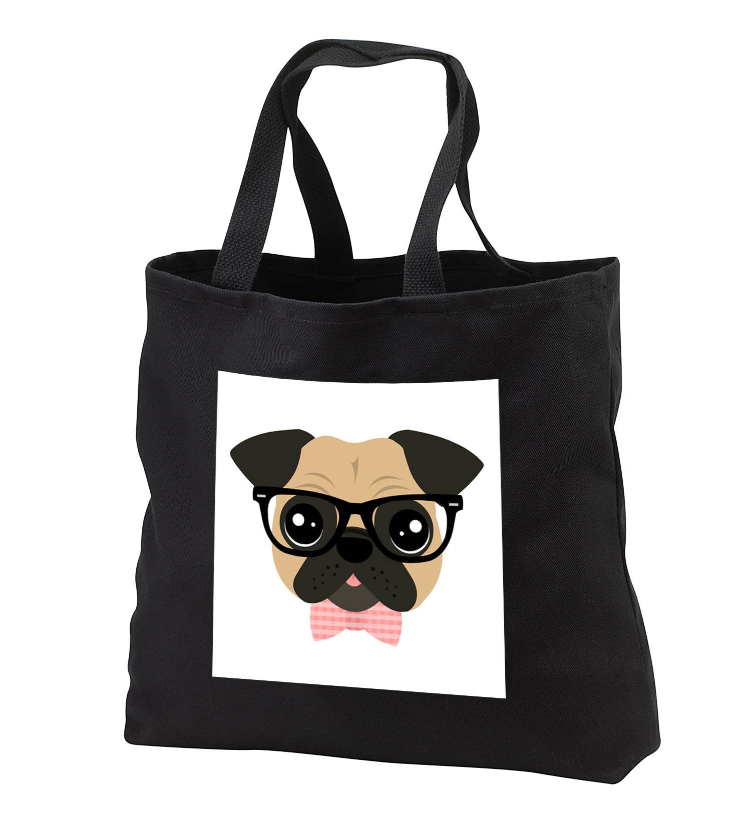 Janna Salak Designs Dogs - Nerdy Pug Cute Dog with Glasses and Bowtie - Tote Bags - Black Tote Bag JUMBO 20w x 15h x 5d (tb_283584_3)