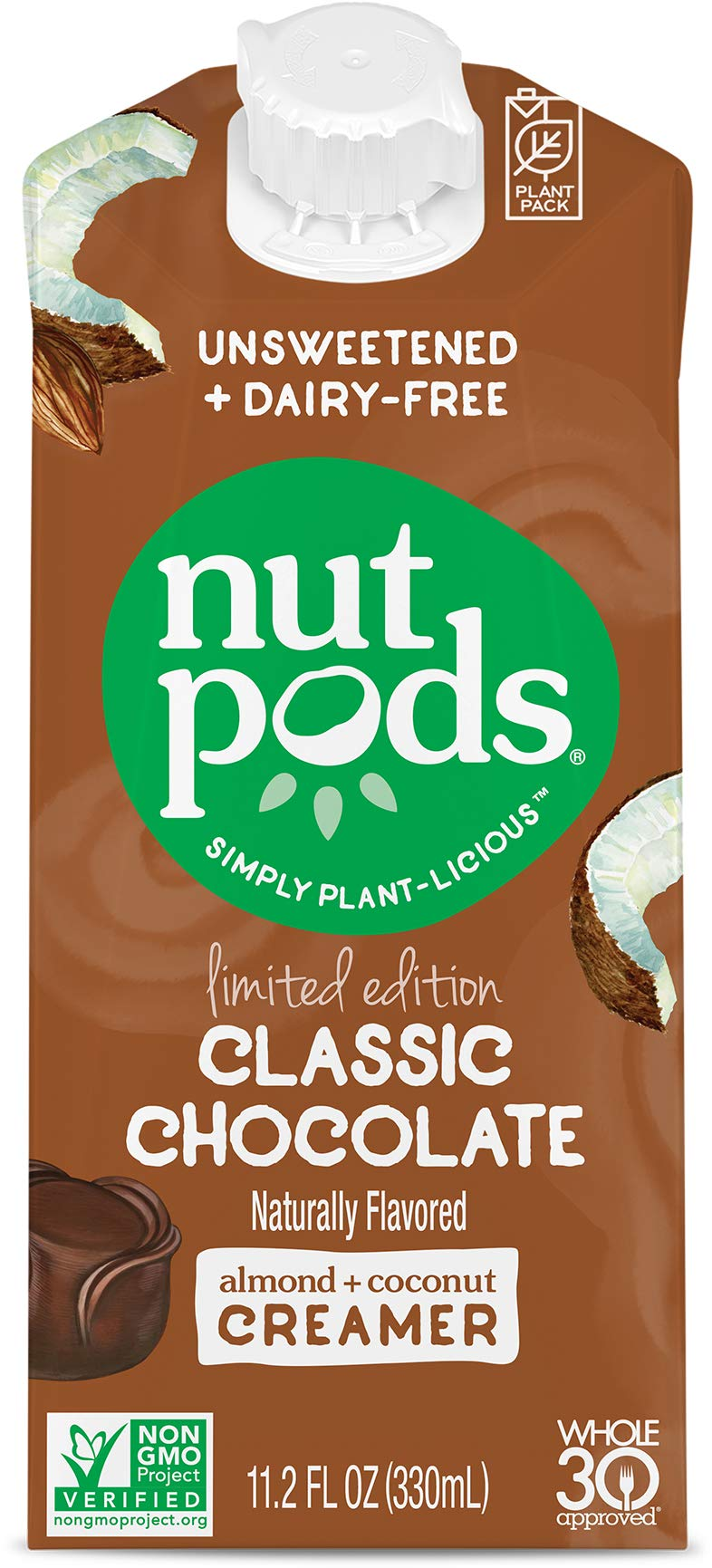 nutpods Classic Chocolate, Unsweetened Dairy-Free Liquid Coffee Creamer Made From Almond and Coconut (6-pack)