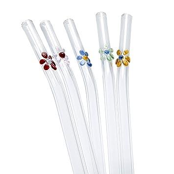 STRAWGRACE Pajitas de Cristal con Flores de Colores, de 23 cm x 8 mm -