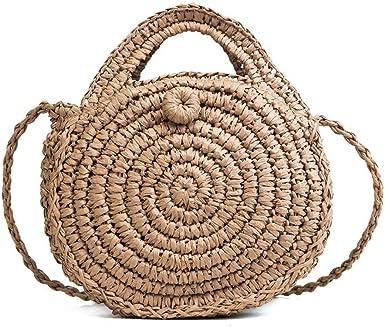 bolsa de viaje bolsa de paja y bolsos bolsa de mano de paja para mujer Bolsas de paja para verano asa superior media bolsa de rat/án redonda
