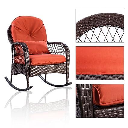 Amazon Com Kchex Patio Rattan Wicker Rocking Chair Porch Deck