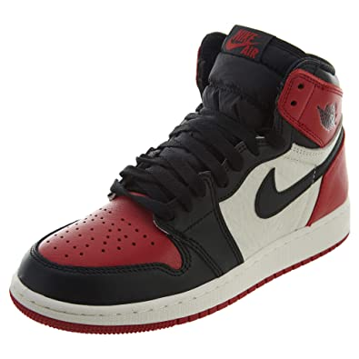 db8fc7b0b55 NIKE Boys Air Jordan 1 Retro High OG BG Bred Toe Red Black-White