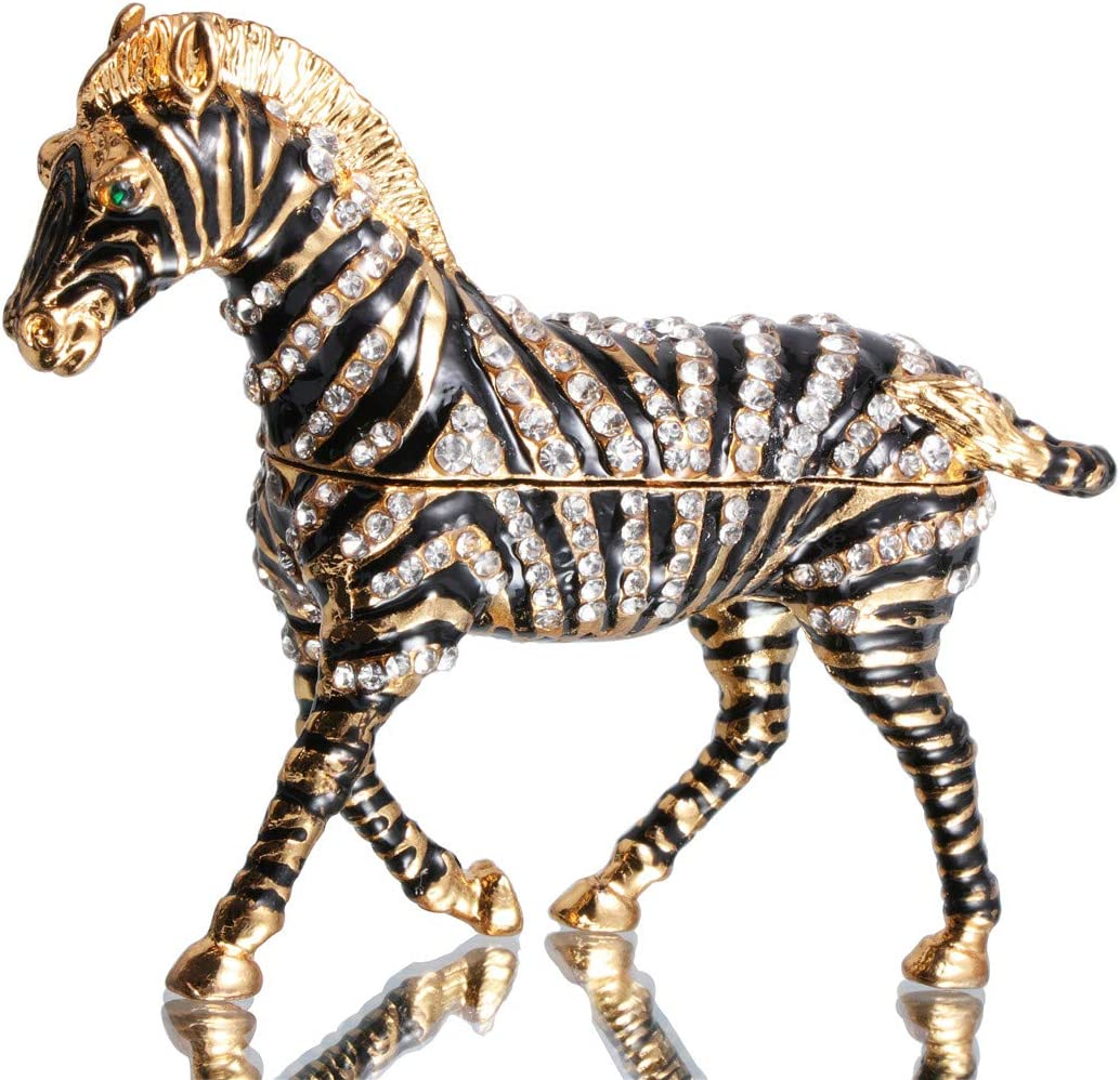 Waltz&F Hand-Painted Zebra Trinket Box Animal Jewelrybox Figurine Collectible Ring Holder