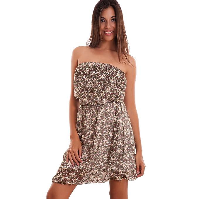 6201df356c7b Toocool - Vestito donna mini abito fiori corto ruches bandeau elastico sexy  nuovo CJ-2269  Taglia unica
