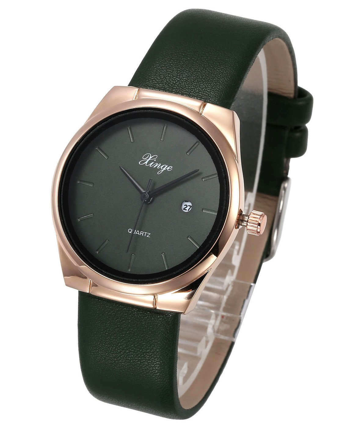 Top Plaza Unisex Casual Simple Rose Gold Tone Leather Band 30M Waterproof Business Analog Quartz Wristwatch with Calendar - Dark Green