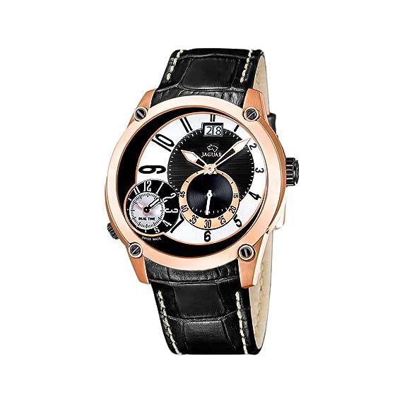 Jaguar 631/2 - Reloj de Caballero de Cuarzo, Correa de Piel Color Negro: Amazon.es: Relojes