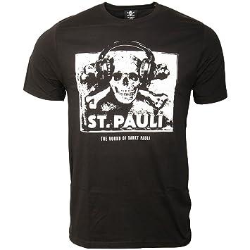 FC St. Pauli - Camiseta para Hombre Fan Artículo The Sound of Sankt Pauli Música Calavera Auriculares Blanco y Negro: Amazon.es: Deportes y aire libre