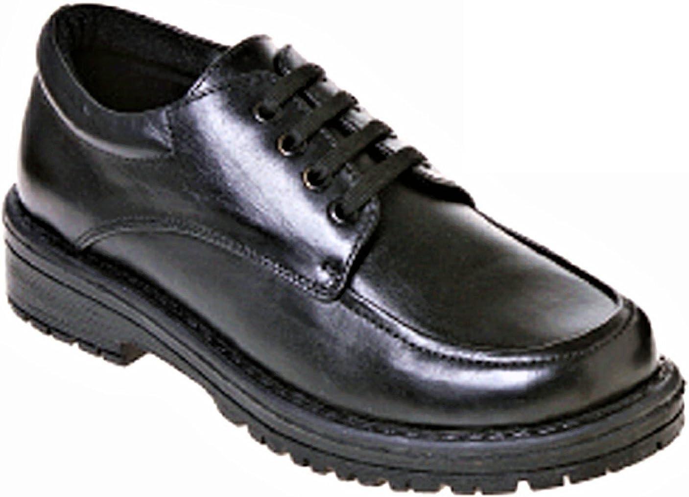 Boys Black Leather Shoes Non Marking Sole EU