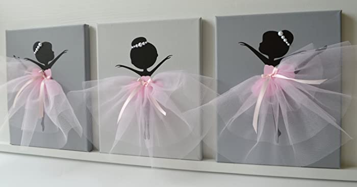 Amazon.com: Dancing Ballerinas Wall Decor. Nursery wall art in Pink ...