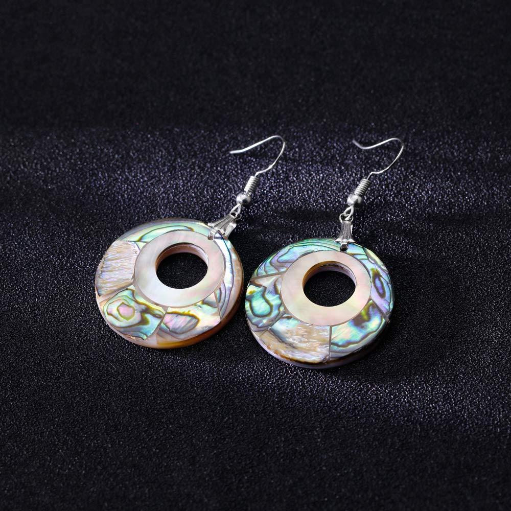 Soonvinia Natural Abalone Shell Round Hollowing Drop Earrings Fish Hook Fashion Dangle Earrings Gift for Women Girls
