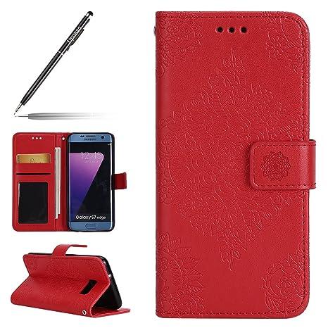 3415795cdd2 uposao funda carcasa para Samsung Galaxy S7 Edge, funda piel cartera funda  de piel Funda de ...