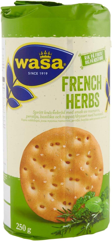 Wasa Runda French Herbs, Pane Croccante con Erbe Aromatiche Francesi e Sale Marino, 250 gr