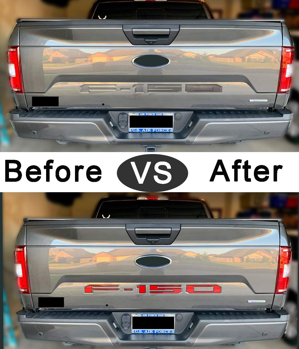 Arita Tailgate Insert Letters for Ford F150 2018 2019 2020-3M Adhesive /& 3D Raised Metal Tailgate Decal Letters Gloss Black with Red Border