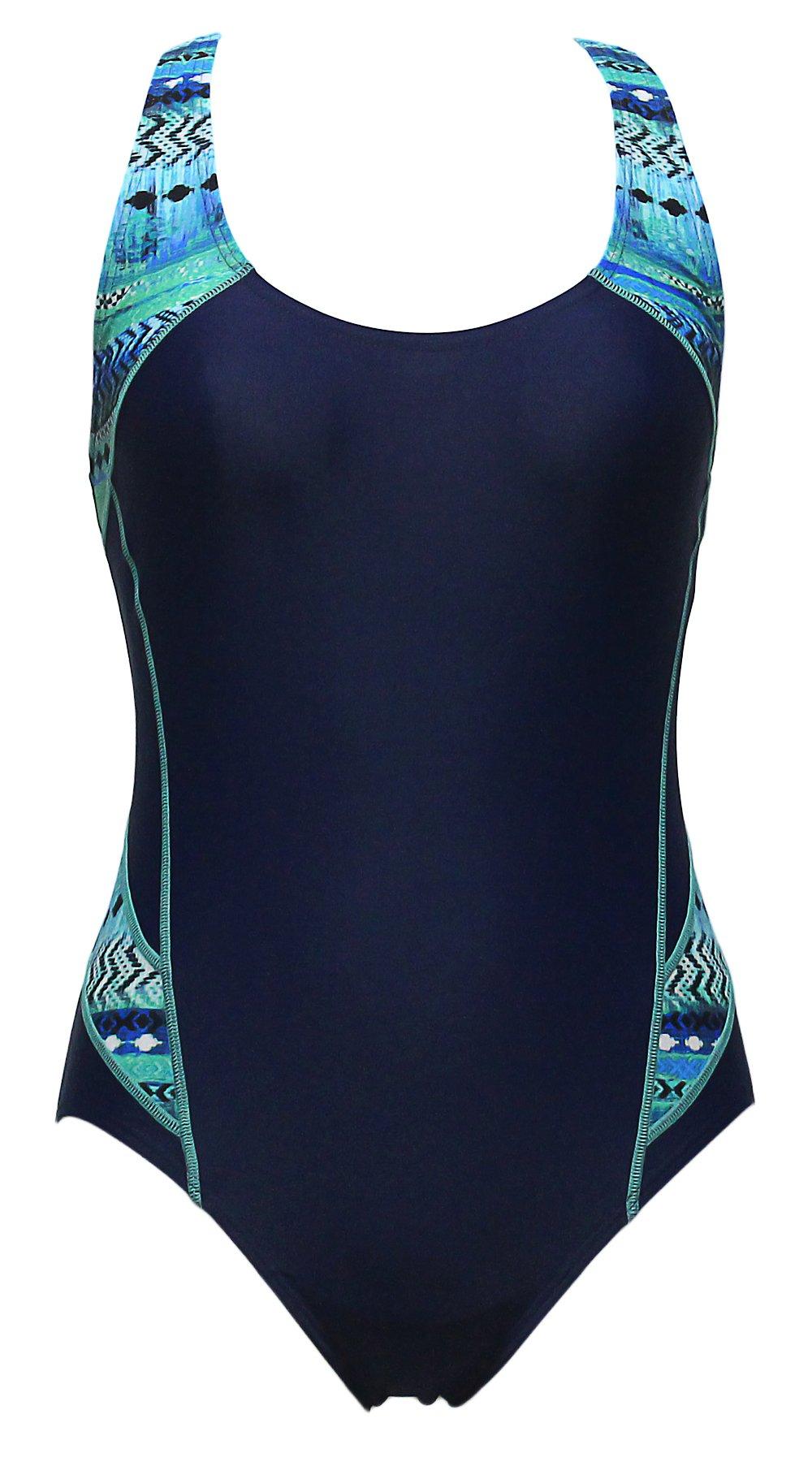 Qiaoer Athletic Bathing Suit Women's Raceback Splice One Piece Swimsuit (Blue Pattern, XL)