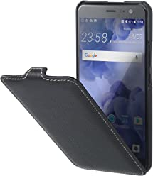 StilGut UltraSlim Case, custodia flip case in vera pelle per HTC U11