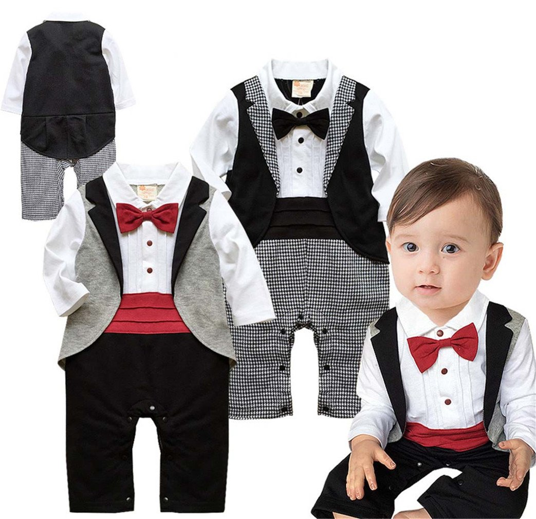 Angelchild Baby Boys Tuxedo Gentleman Onesie Romper Jumpsuit Formal Wedding Suit (Tag 95(12-18Months), Red)