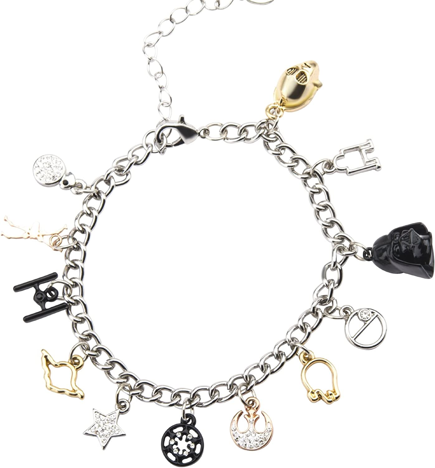 Amazon Com Star Wars Jewelry Men S Multi Charm Stainless Steel Charm Bracelet 7 5 Inch 2 Inch Extender Silver Expandable Jewelry