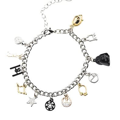 254038f10a7cc Star Wars Jewelry Men's Multi Charm Stainless Steel Charm Bracelet,  7.5-Inch + 2-Inch Extender, Silver, Expandable