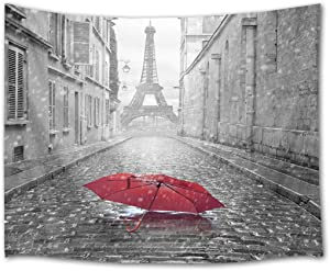 HVEST Eiffel Tower Tapestry Red Umbrella on The Street of Paris Wall Hanging Black and White Tapestries for Bedroom Living Room Dorm Party Wall Decor,60Wx40H inches