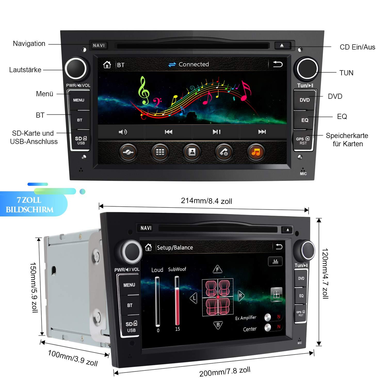 Silber 7 Zoll Touchscreen Radio unterst/ützt Lenkrad Bedienung USB SD RDS Bluetooth AWESAFE 2-DIN Autoradio mit Navi f/ür Opel