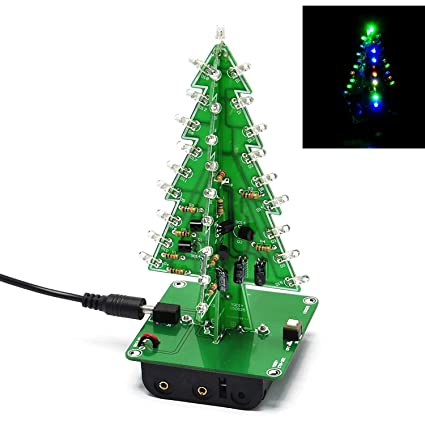 Northbear 3D Christmas Tree LED Flashing Light DIY Kit Circuit Board Mould  3/7 Colors Xmas Tree Gift (7 Colors)