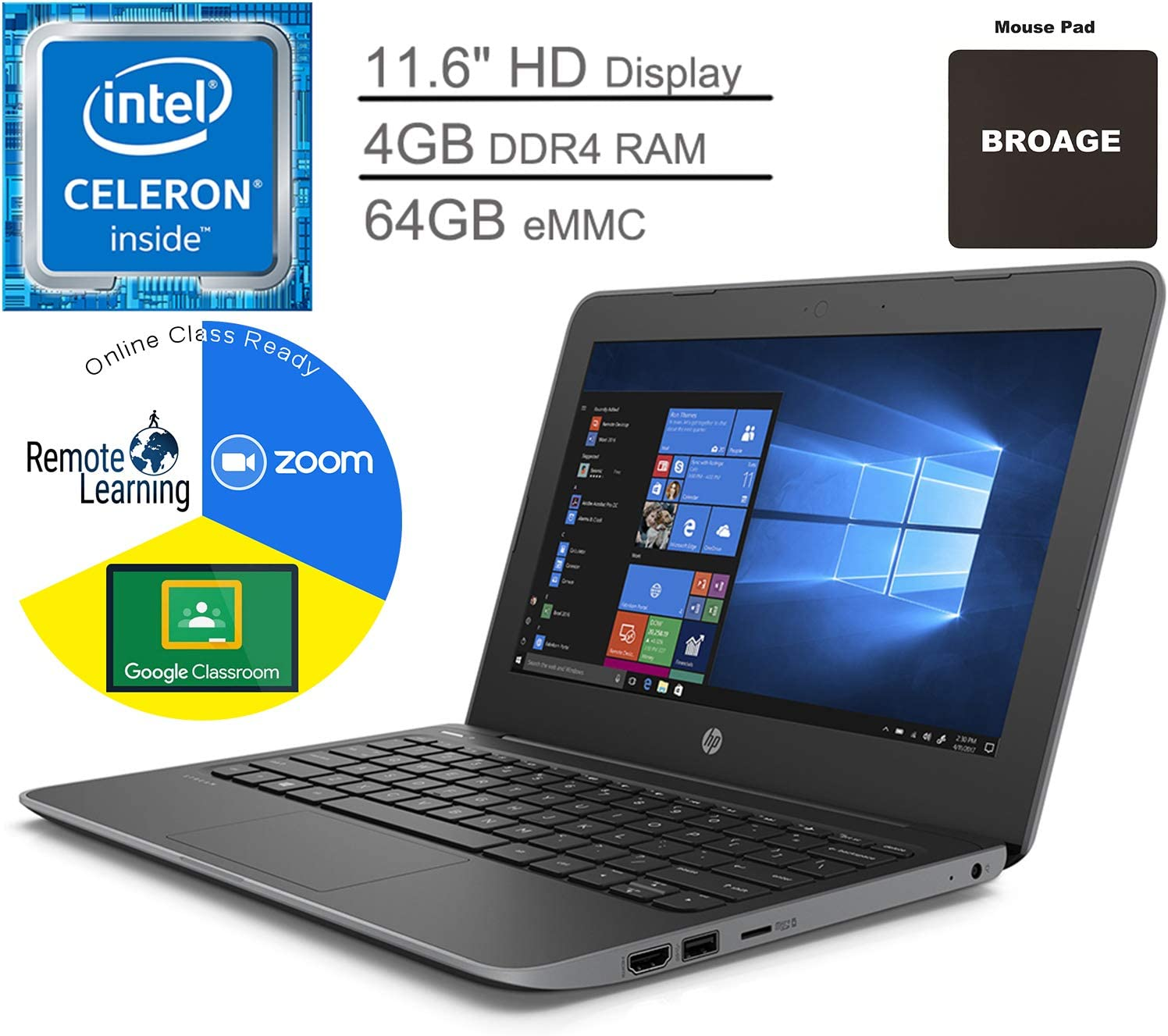 "HP Stream 11 Pro G5 11.6"" Laptop Computer for Business or Education_ Intel Celeron N4000 up to 2.6GHz_ 4GB DDR4 RAM, 64GB eMMC_ Webcam_ Microphone_ Online Class Ready_ Windows 10 Pro_ BROAGE Mouse Pad"