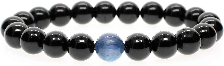 COAI® Pulsera de Kyanita y Turmalina Negra Piedra Semipreciosa 10mm