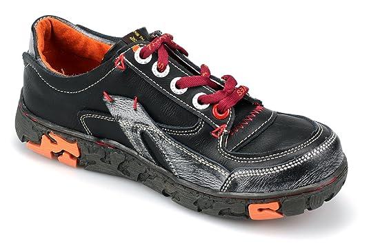 TMA Damen Schuhe Echtleder Halbschuhe Schnürschuhe 4167 (36, Schwarz)