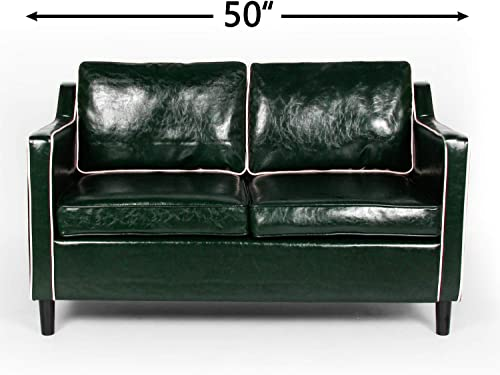 Modern 50 Small Sofa Couch Faux Leather Comfy Loveseat Sofa Mini Couch Living Room Bedroom, Office Couch Love Seat Small Space 2-Seat for 2 People Green White