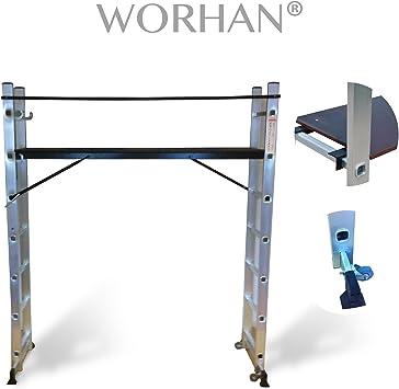 WORHAN® Escalera Andamio MULTI-POSICIONES Andamio + ruedas multiposición + PLATAFORMA ksc-gerüstleiter: Amazon.es: Bricolaje y herramientas