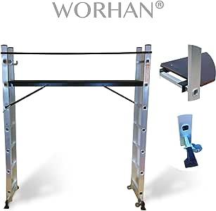 Escalera Andamio max. altura 143cm , 7 peldaños con Plataforma y Ruedas Multifuncion Multiuso 5 en 1 -NORMA EN131- de Aluminio de Alta Calidad KSC-Gerüstleiter: Amazon.es: Bricolaje y herramientas