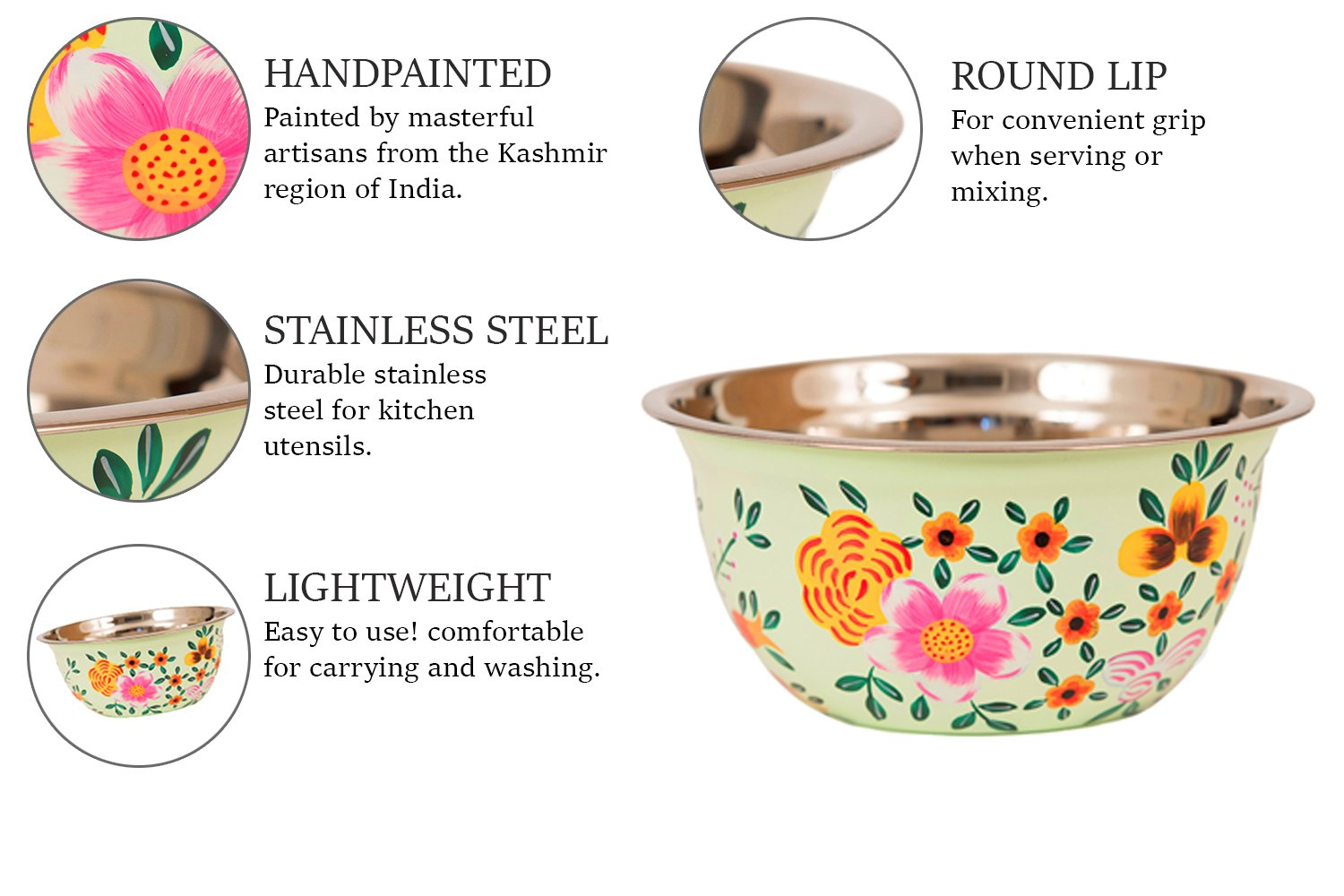 """Hand Painted Stainless Steel Bowl – Large Salad Bowl, Fruit Bowl, Mixing Bowl, & More – Decorative, Handmade Floral Art Bowl for Serving and Home Décor, 10"""" Diameter, 3.6L Volume by, Spices Home Decor by Spices home decor (Image #4)"""