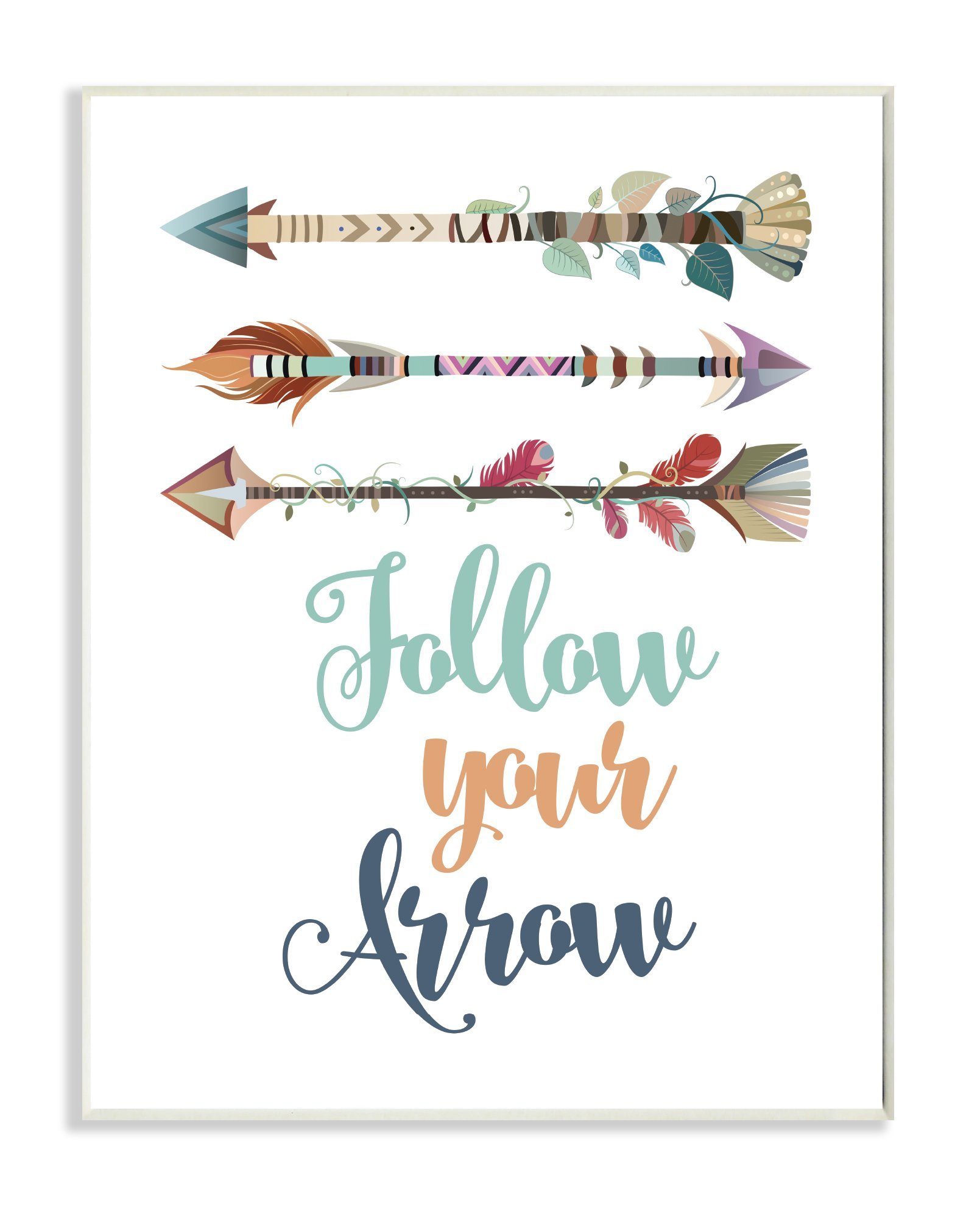 Stupell Home Décor Follow Your Arrows Wall Plaque Art, 10 x 0.5 x 15, Proudly Made in USA