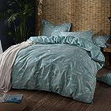 Xanlenss 轩蓝仕 美式宜家风纯棉喷气贡缎活性床单四件套 40S全棉植物印花套件 13372高密度亲肤AB版床品 (芦曼纷飞, 1.5米床(被套200*230)