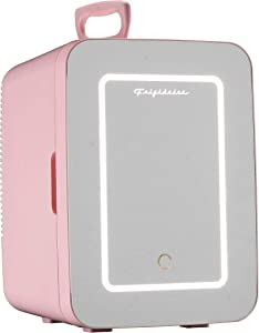 FRIGIDAIRE EFMIS170-PINK Mini Portable Compact Personal Fridge, 10L Capacity, 15 Cans, Makeup, Skincare, Freon-Free & Eco Friendly, Includes Home Plug & 12V Car Charger, Pink