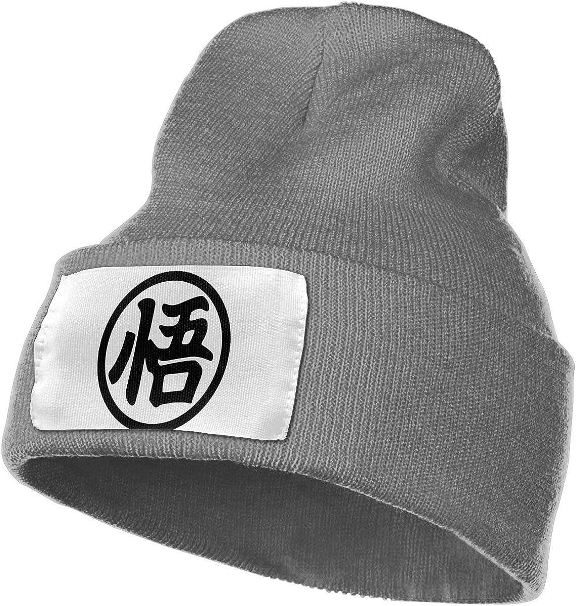 Enghuaquj Goku Kanji Knitted Hat Cap Beanie Black