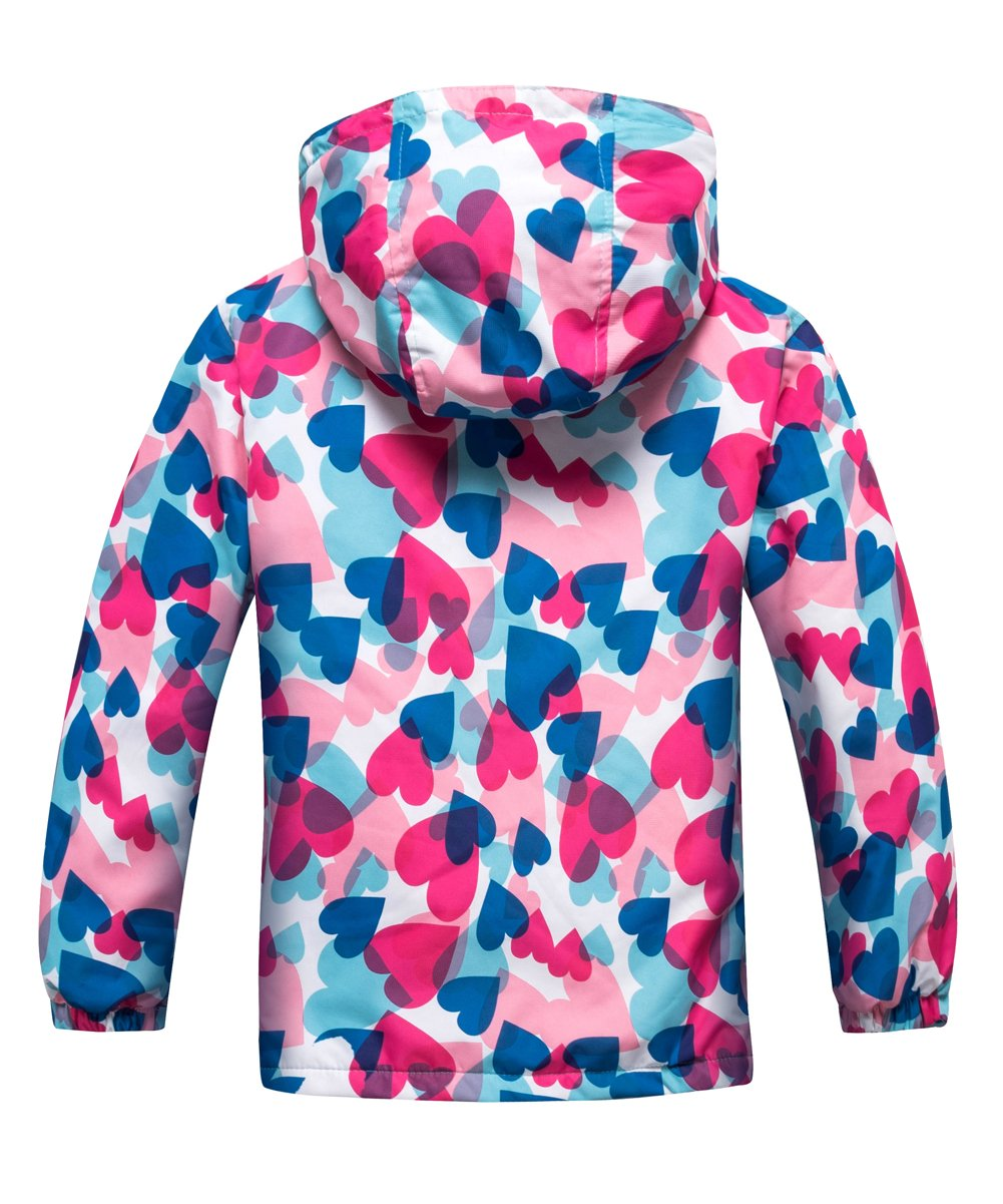 M2C Girls Outdoor Patterned Fleece Lined Light Windproof Jacket with Hood 7/8 Pink by M2C (Image #2)