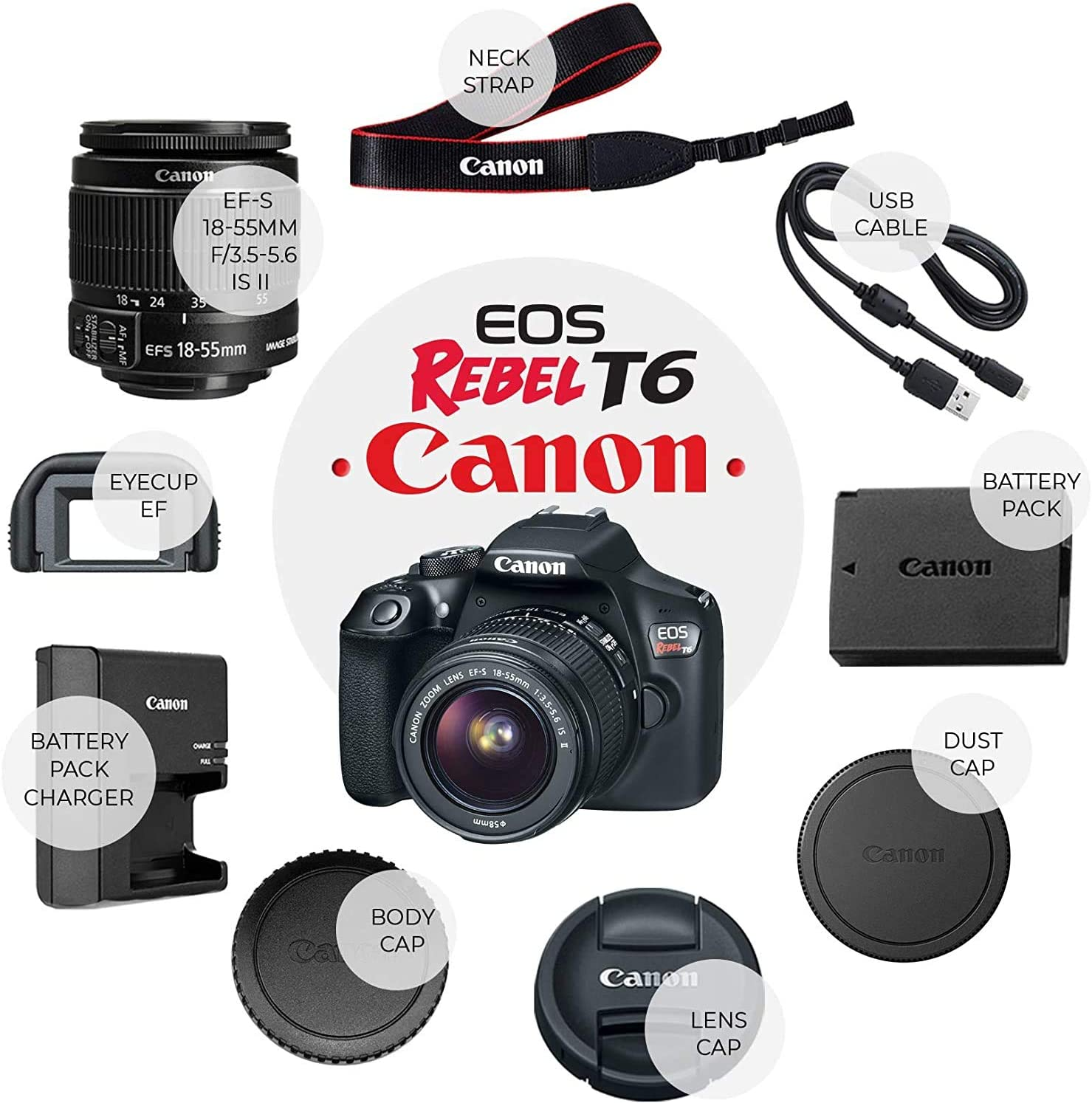 (Renewed) Canon EOS Rebel T6 Digital SLR Camera with 18-55mm EF-S f/3.5-5.6 is II Lens + 58mm Wide Angle Lens + 2X Telephoto Lens + Flash + 2X 32GB Memory + Tripod + Full Accessory Bundle