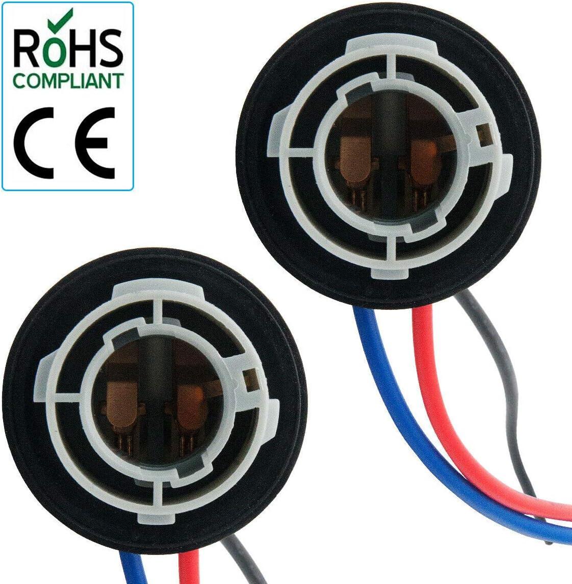 5W Adaptador Base Socket Conector Accesorios de Pl/ástico para Coche para Luz de Freno CUHAWUDBA 2 Unids 1157 Bay15D Lamp Holder Bulbs P21