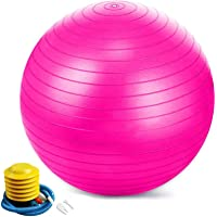 Jasonwell Exercise Ball Extra Thick Yoga Ball Chair Birthing&balance Ball with Quick Pump (55-85cm)(Pink, 55)