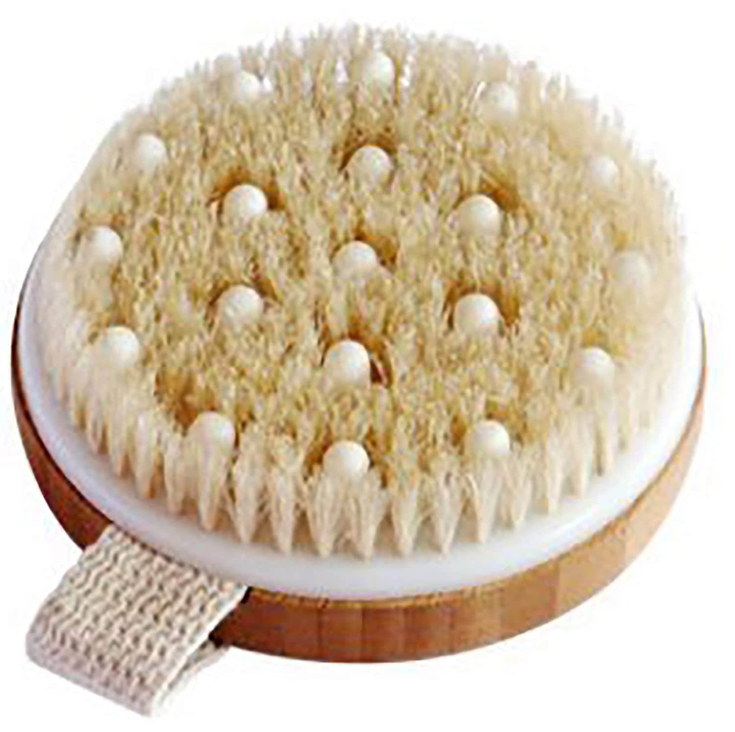 BEST DEAL Dry Brushing Bamboo Body Brush - Best for Exfoliating Dry Skin, Lymphatic Drainage and Cellulite Treatment - Organic Spa Exfoliation and Massage Scrub Brush with Natural Boar Bristles Nuva Brands