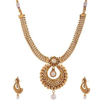 Ganapathy Gems 1 Gram Gold Plated Traditional South Indian Chand Bali and Necklace set for Women  sc 1 st  Amazon.in & Buy Ganapathy Gems 1 Gram Gold Plated Traditional South Indian Chand ...