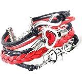 Chianrliu Bracelet à Breloques Infini Amour Coeur Amitié Perle Cuir Antique, Noir