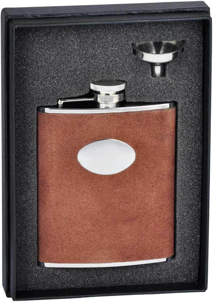 Amazon Com Visol Holiday Essential Cowboy Brown Leather Liquor Flask Gift Set 6 Oz Silver Flasks